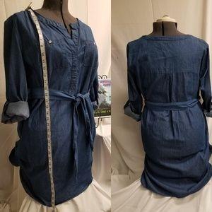 Just Be Dresses - XL Just Be Lightweight Denim Dress with Belt